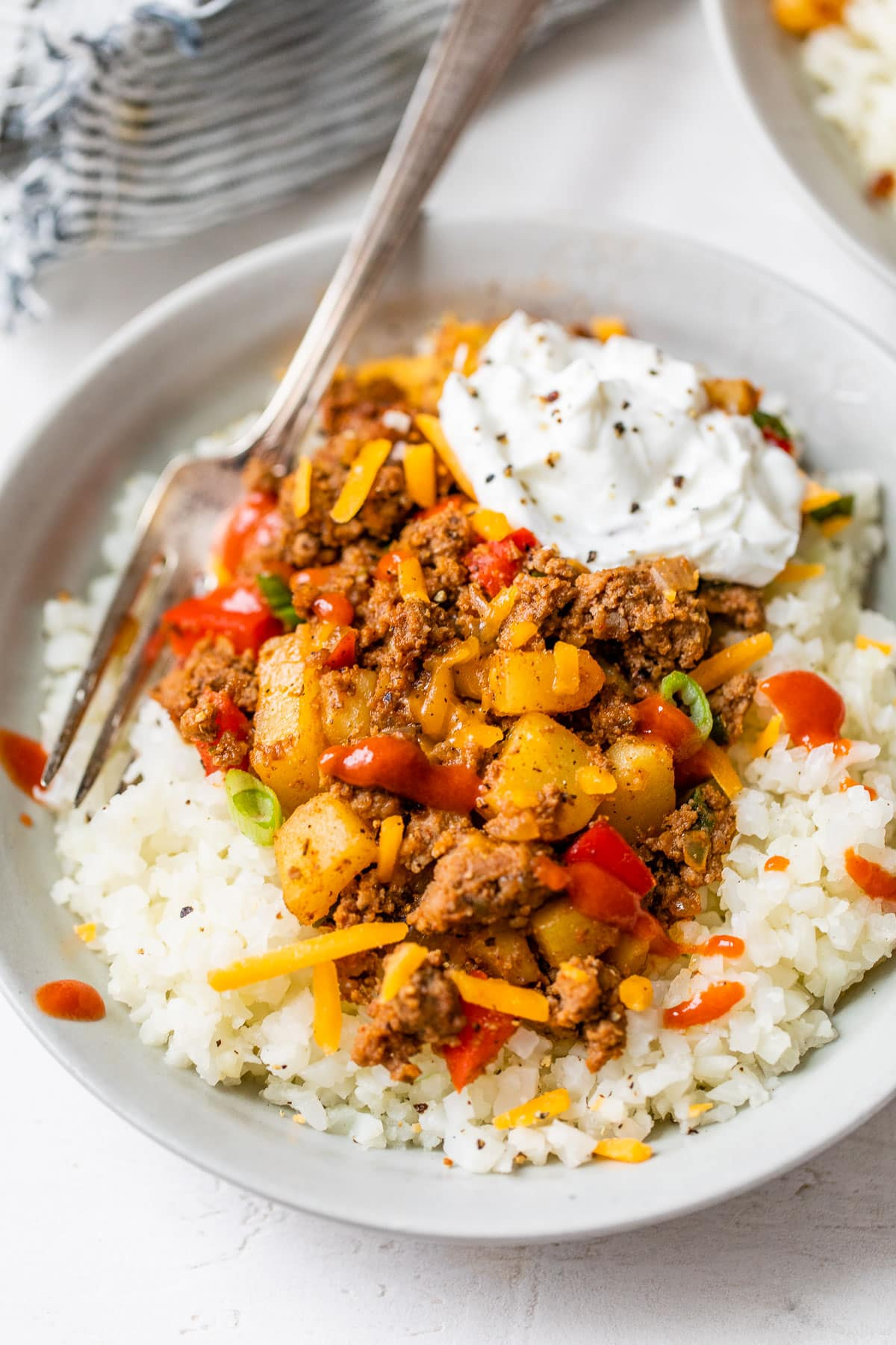 Healthy ground beef and potatoes with rice