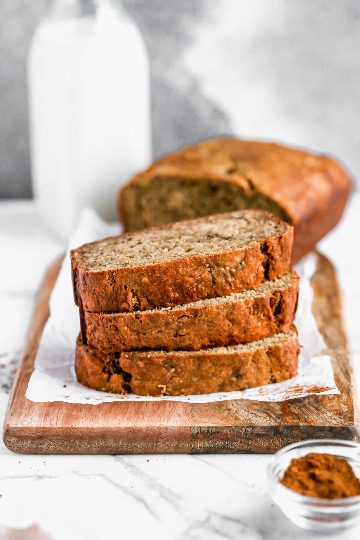 Easy healthy banana bread slices