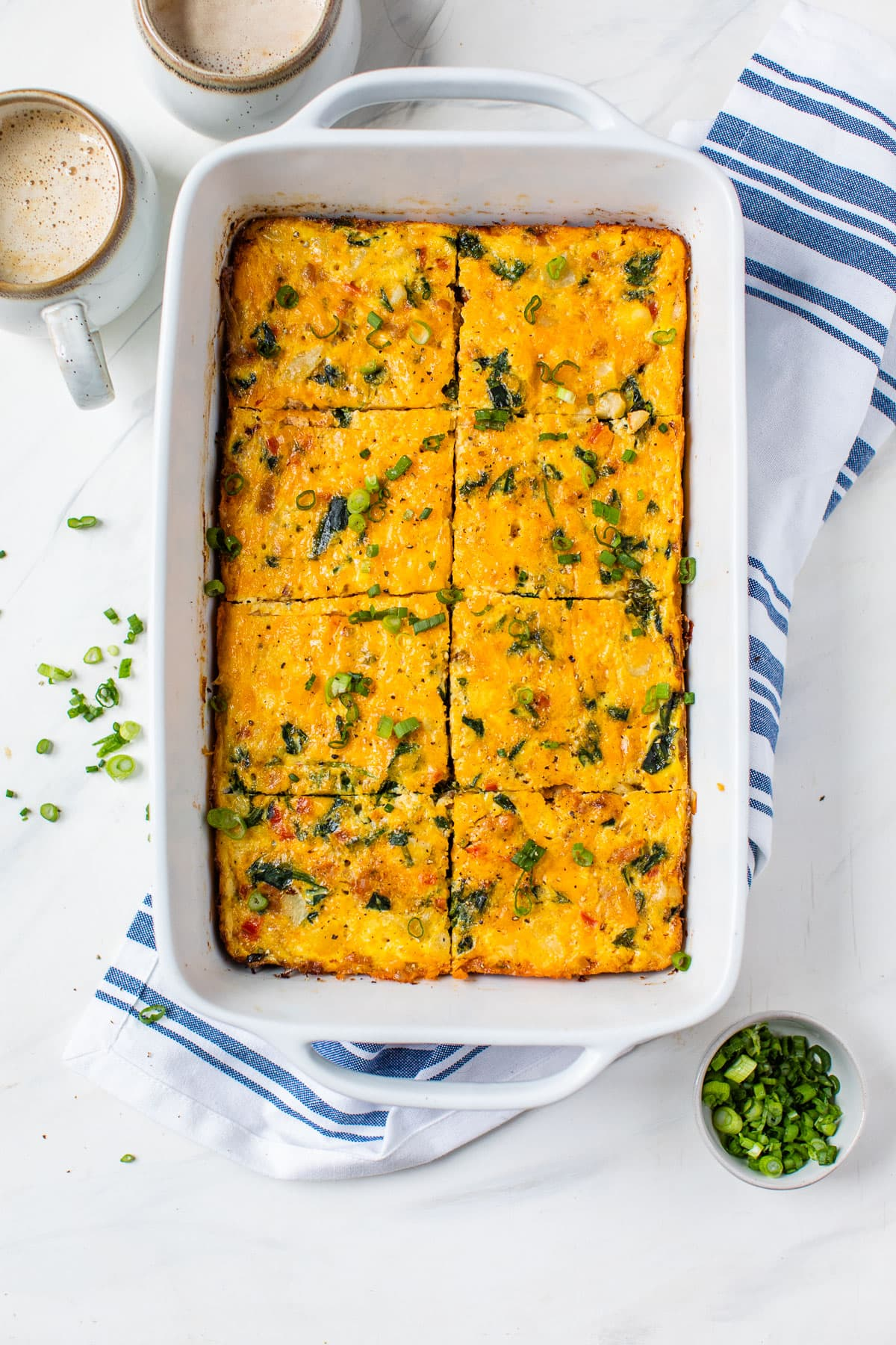 Easy healthy breakfast casserole in a baking dish