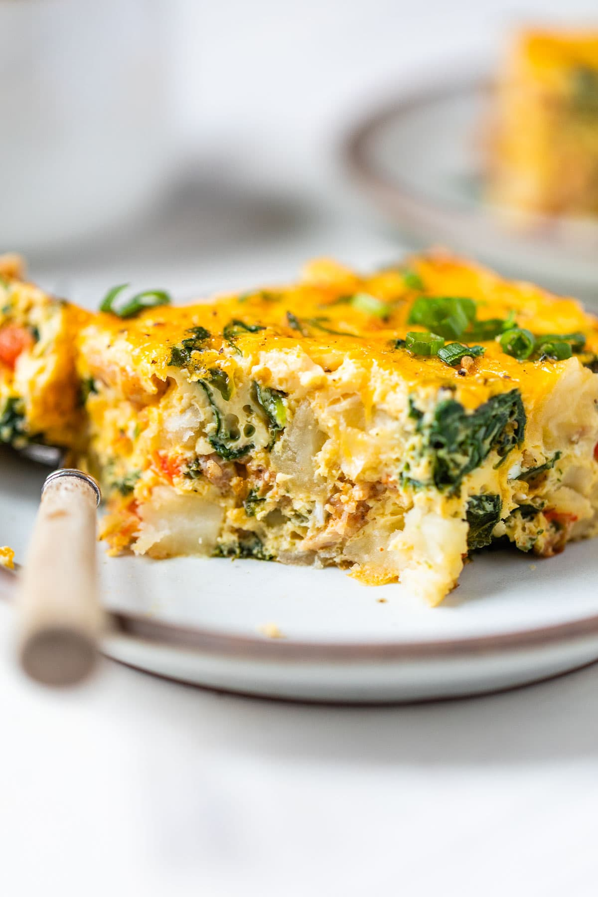 Healthy breakfast casserole on a plate