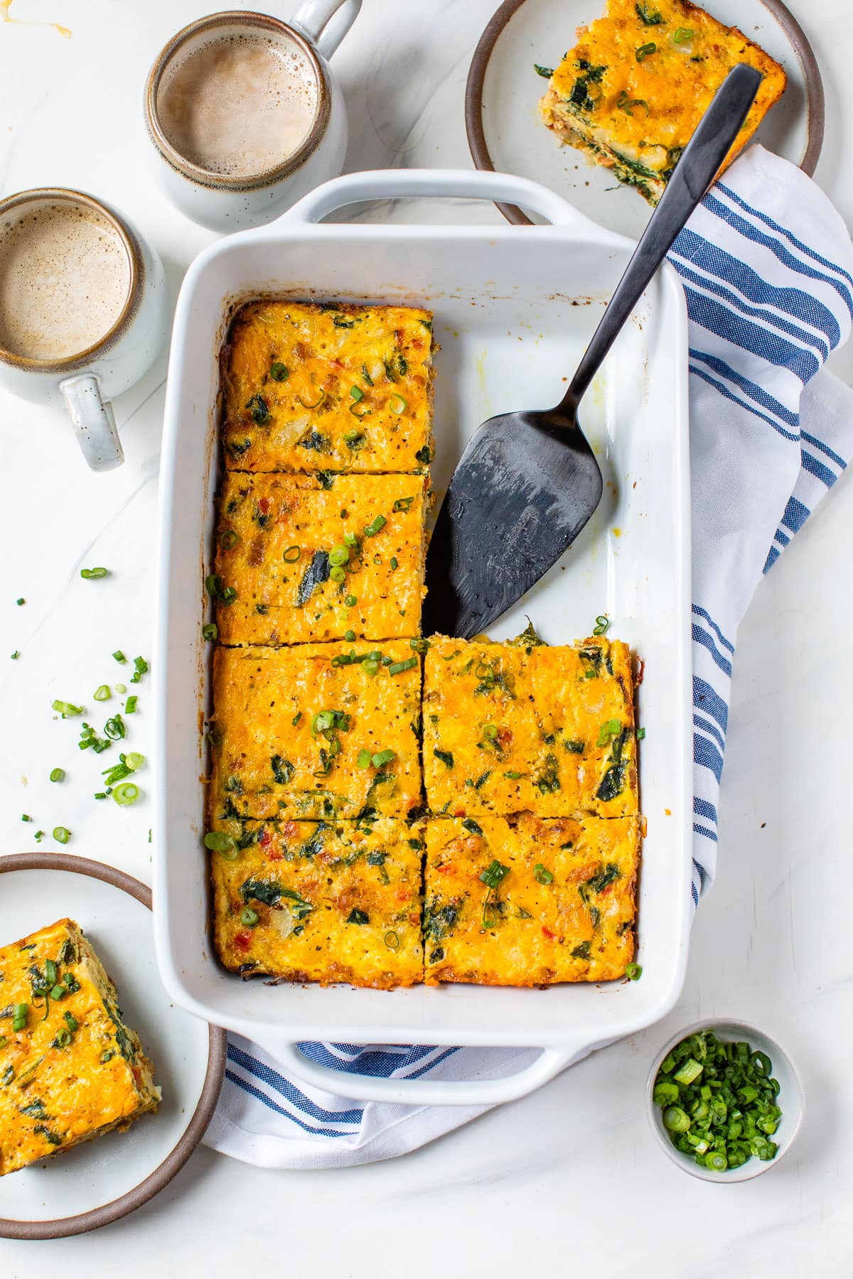 Healthy breakfast casserole in a baking dish