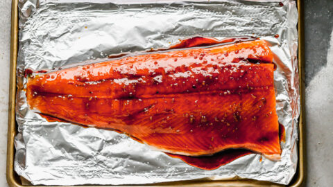 A fillet of salmon with a maple bourbon glaze