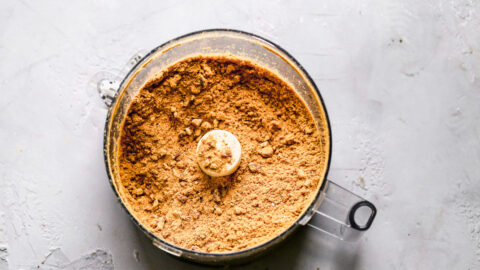Crushed gingersnap cookies in a food processor