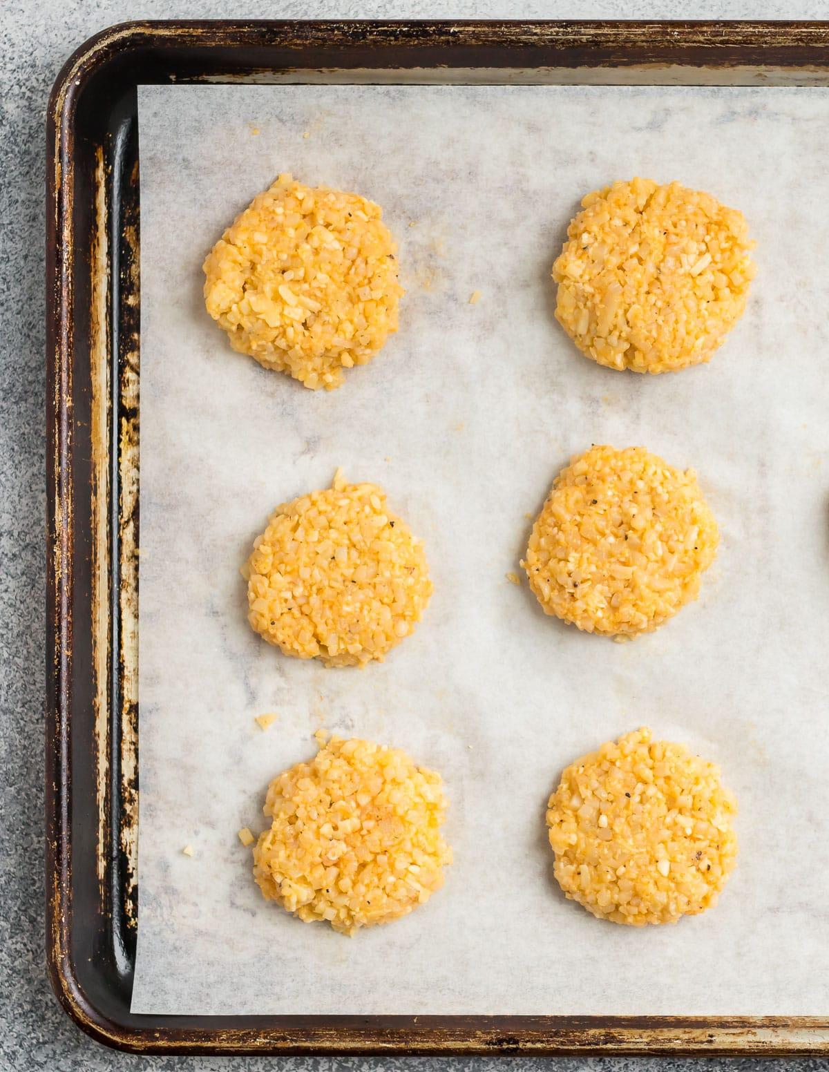Vegetable patties on a baking sheet