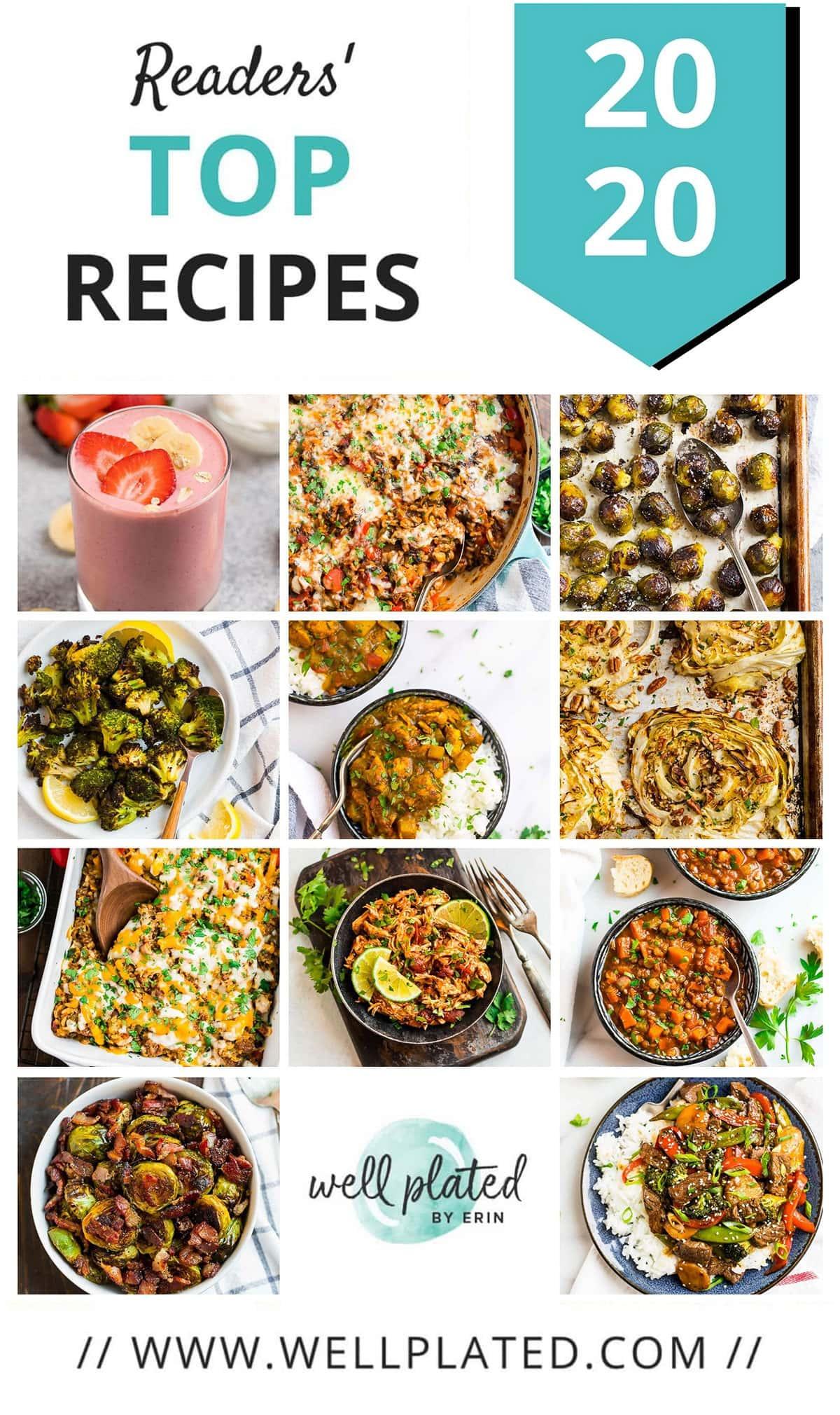 Un collage de las recetas saludables más populares de 2020