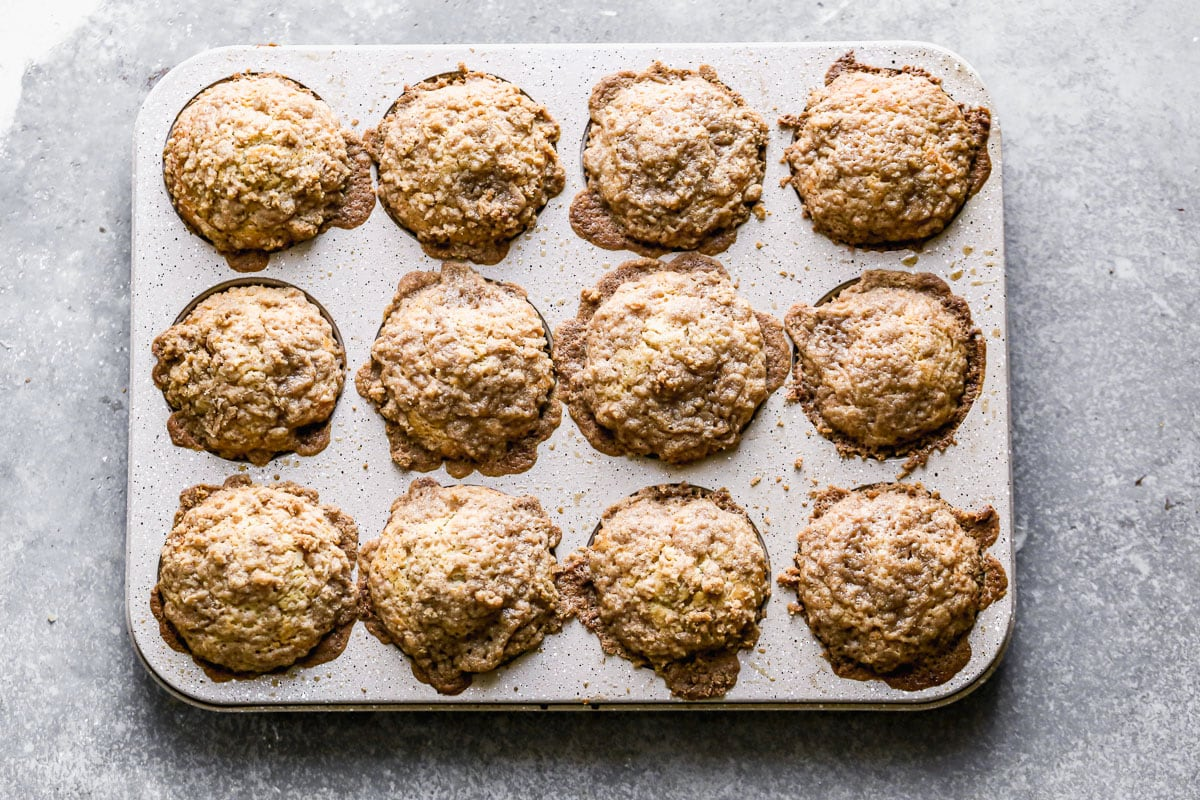 Coffee cake muffins in a muffin pan