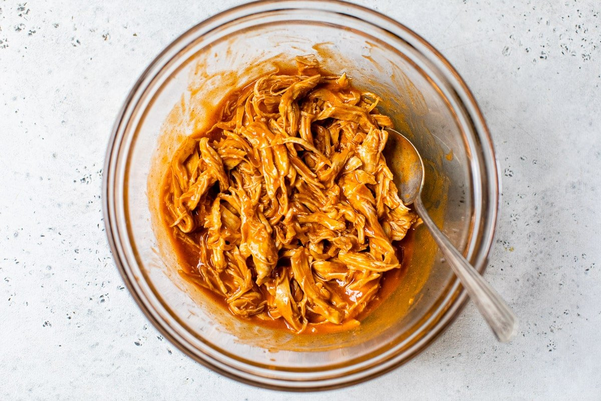 Shredded buffalo chicken in a bowl
