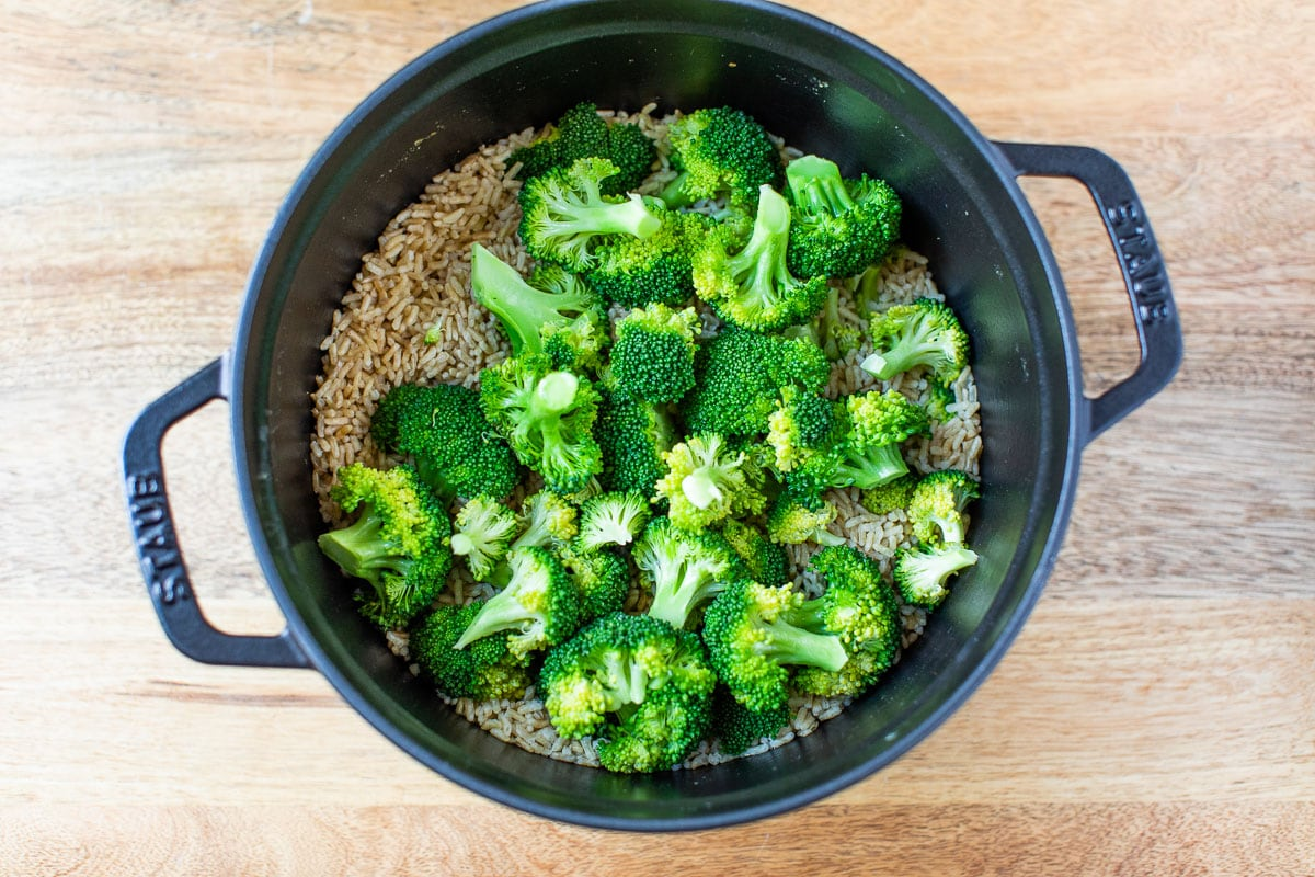 Broccoli and rice in a pot