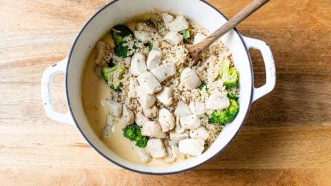 Chicken broccoli rice casserole being prepared