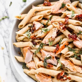 Creamy salmon pasta in a bowl