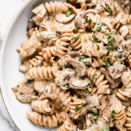 A bowl of vegan mushroom stroganoff