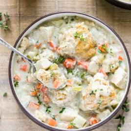 A bowl of crockpot chicken and dumplings
