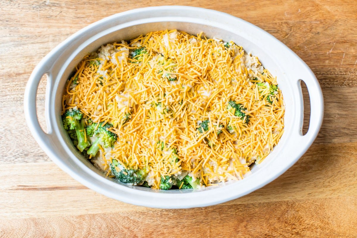 Cheese and vegetables in a baking dish