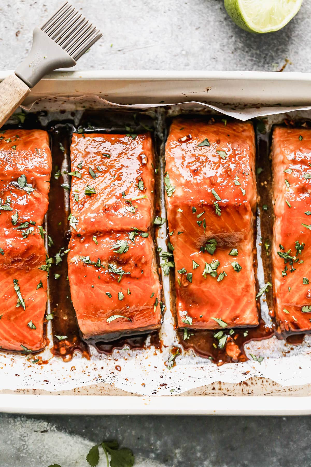 Healthy honey glazed salmon in a baking dish