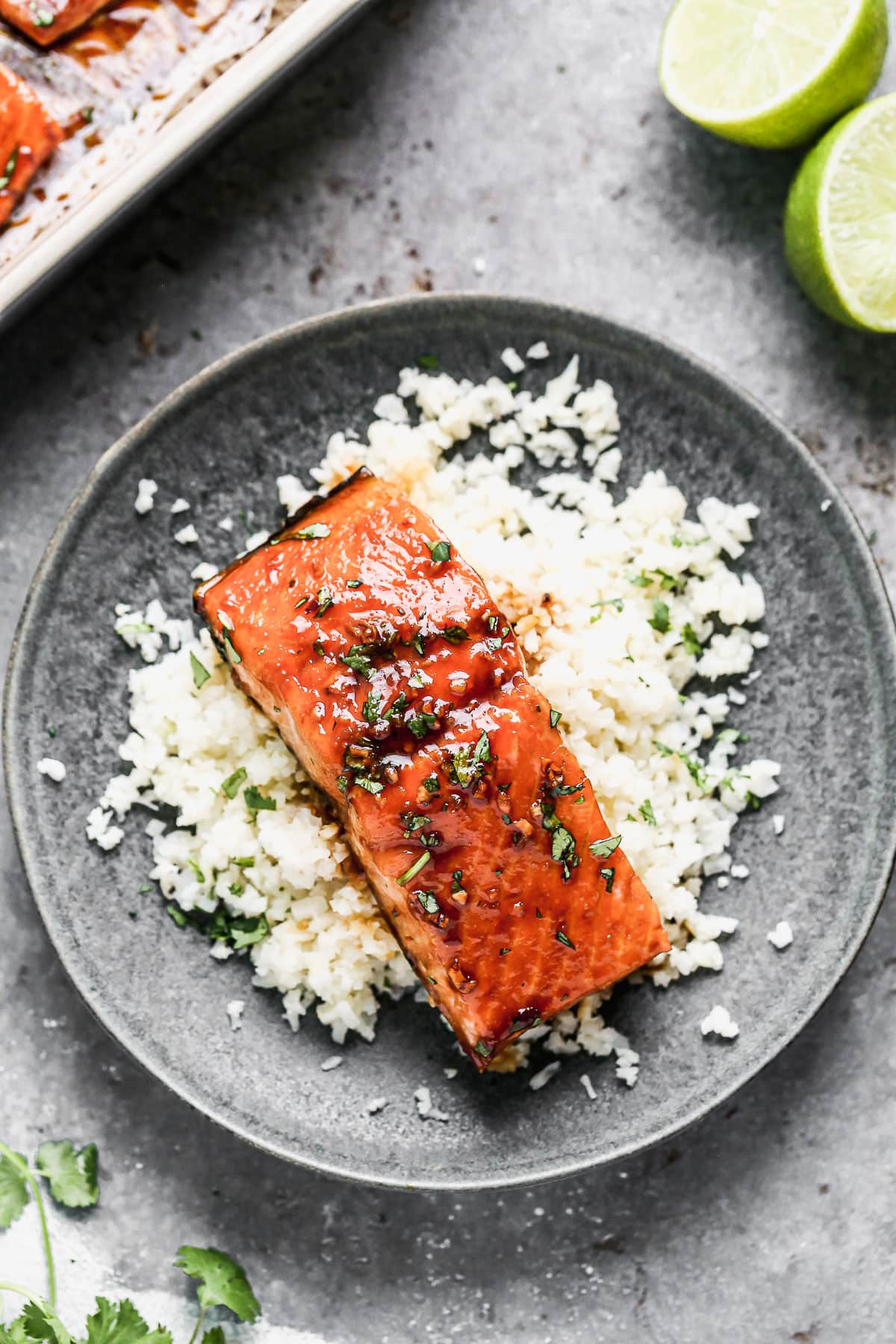Rice and honey glazed salmon