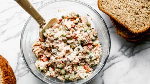 Italian tuna salad in a mixing bowl