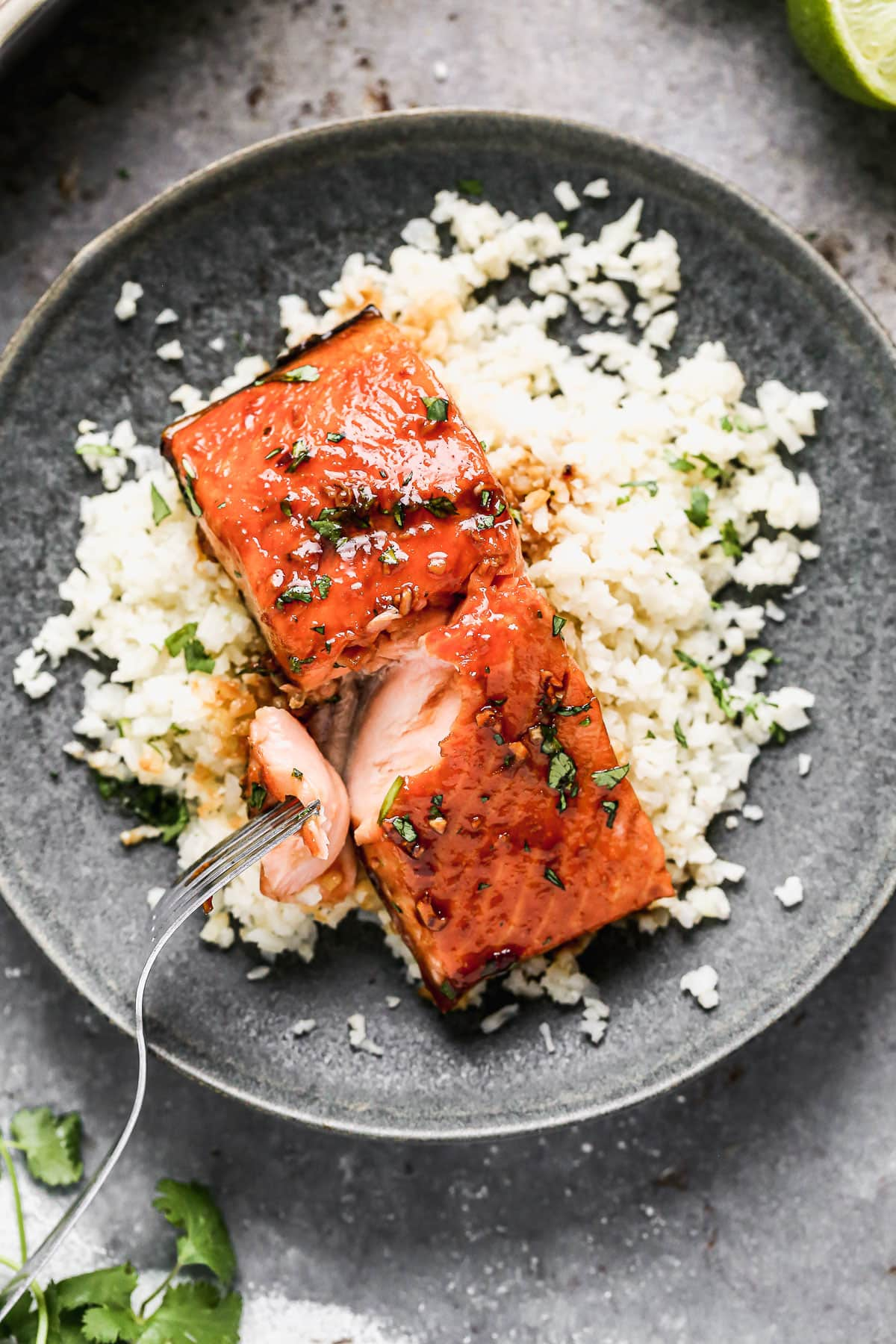 Honey glazed salmon on a plate