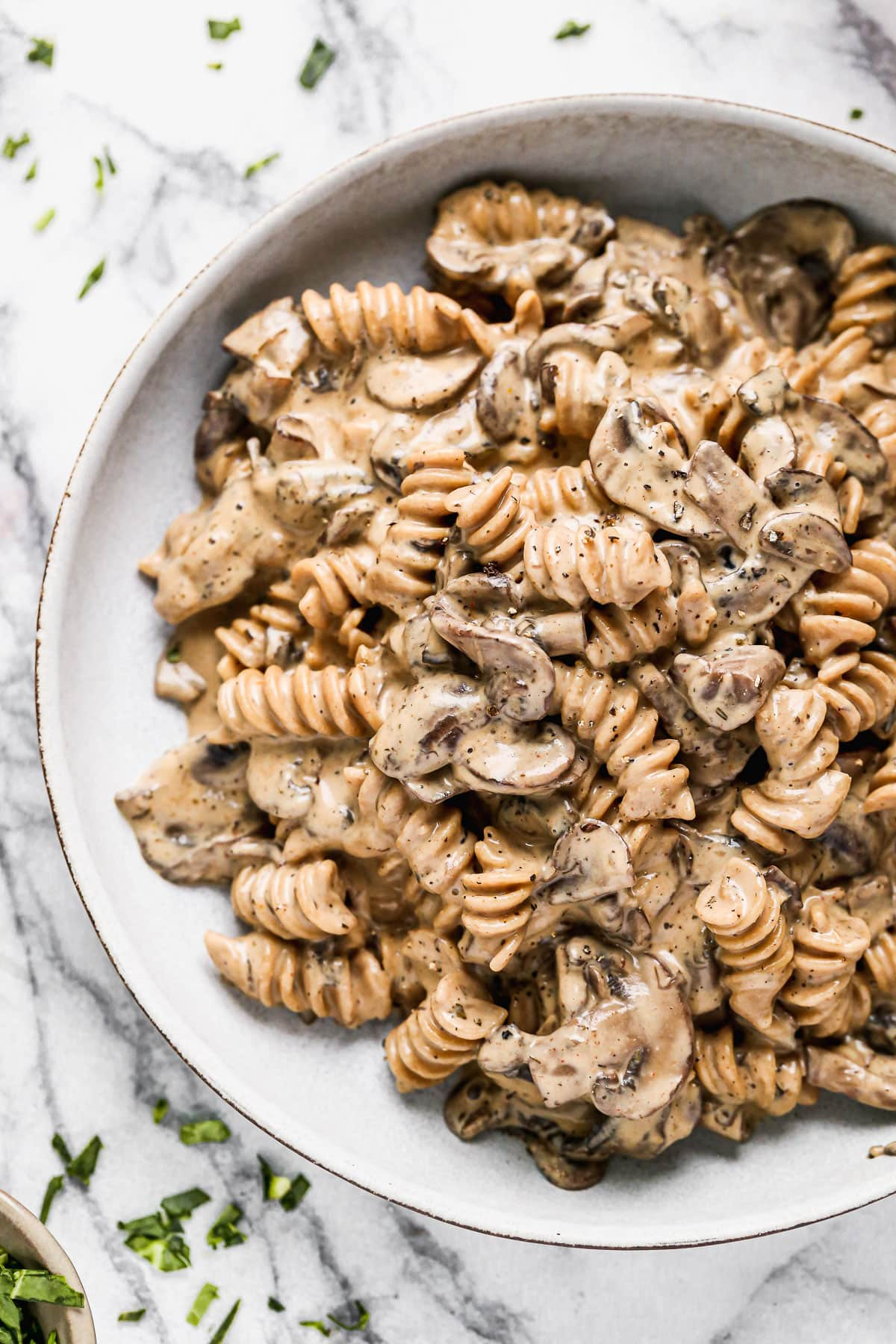 Healthy vegan mushroom stroganoff in a bowl