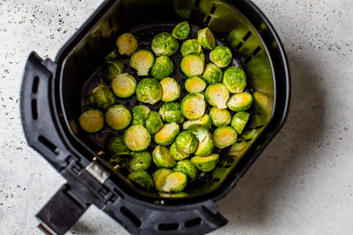 Raw Brussels sprouts in an air fryer