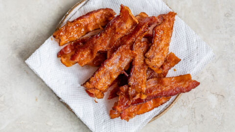 A plate of cooked air fryer bacon