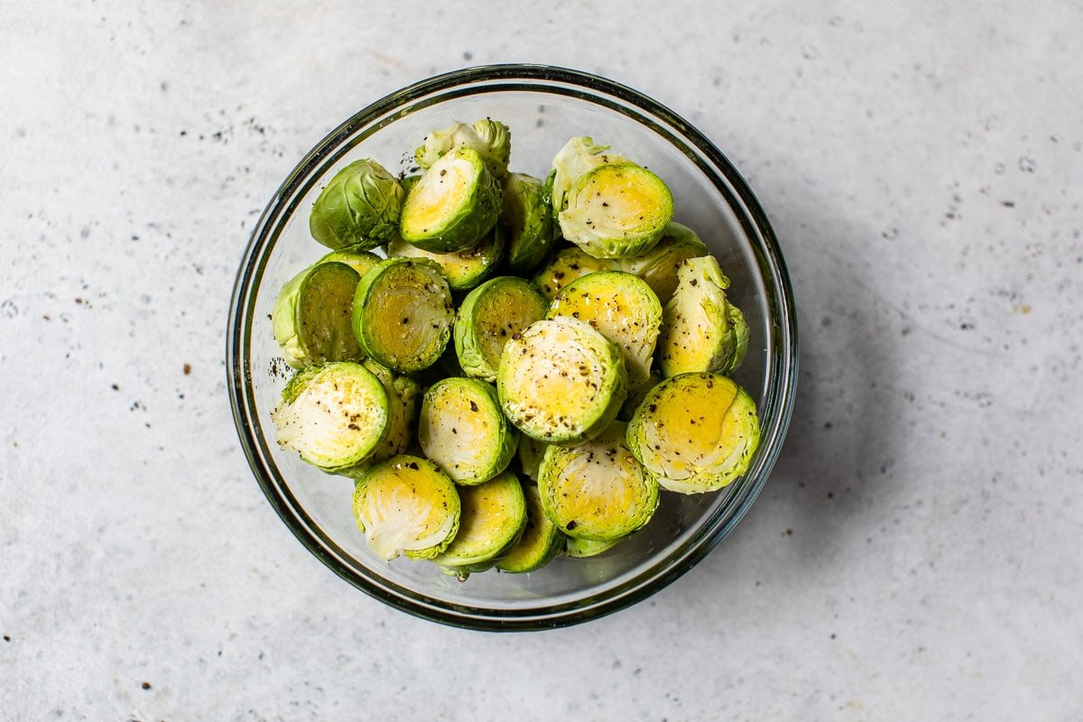Cut Brussels sprouts in a bowl
