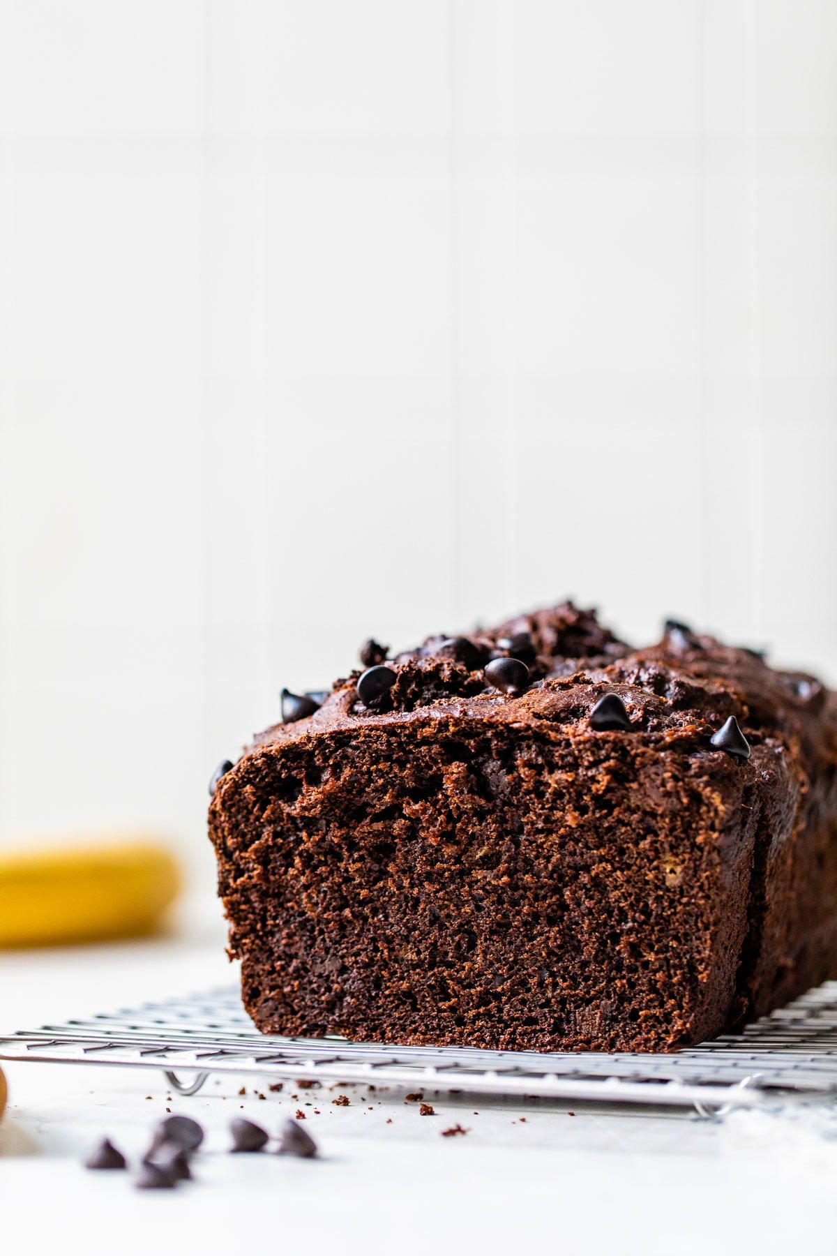 A loaf of chocolate banana bread