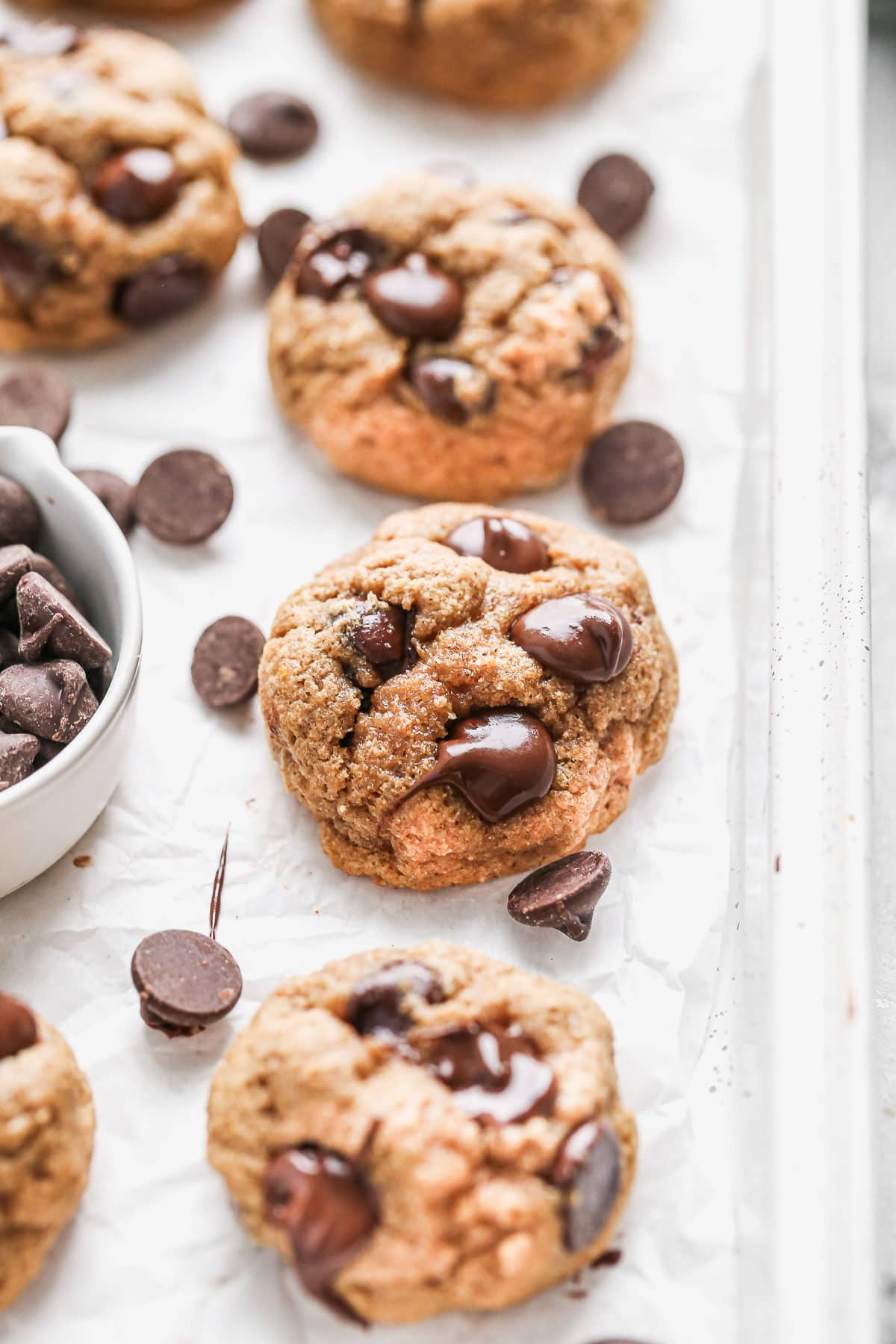 Healthy chocolate chip cookies on a tray