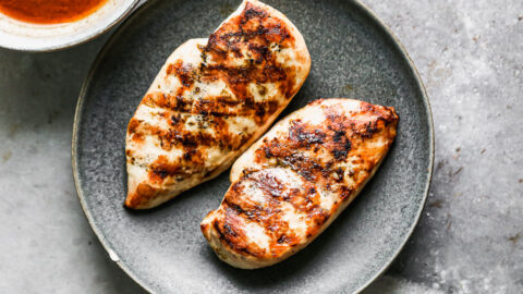 Two chicken breasts on a plate