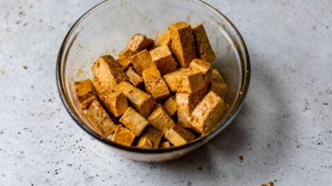 Marinated tofu pieces