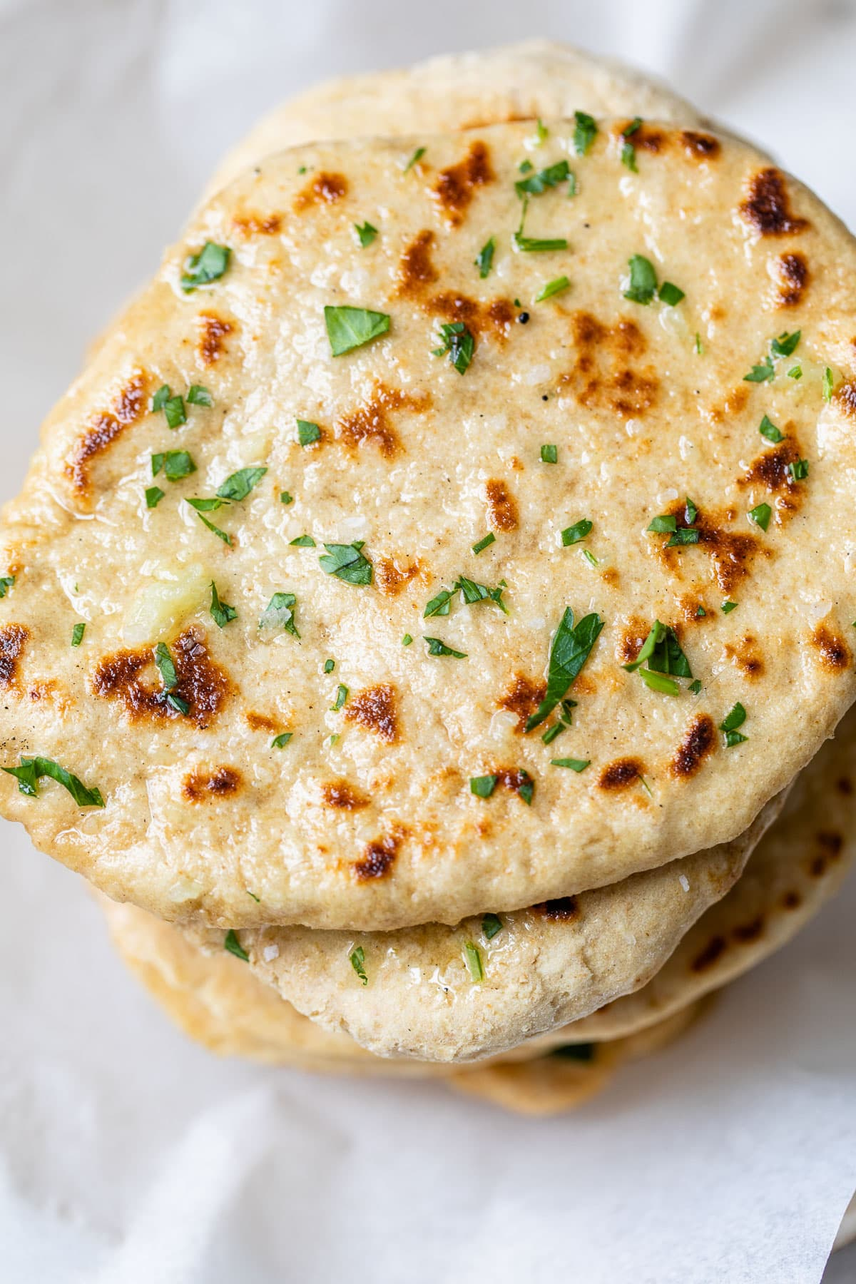 A stack of homemade naan