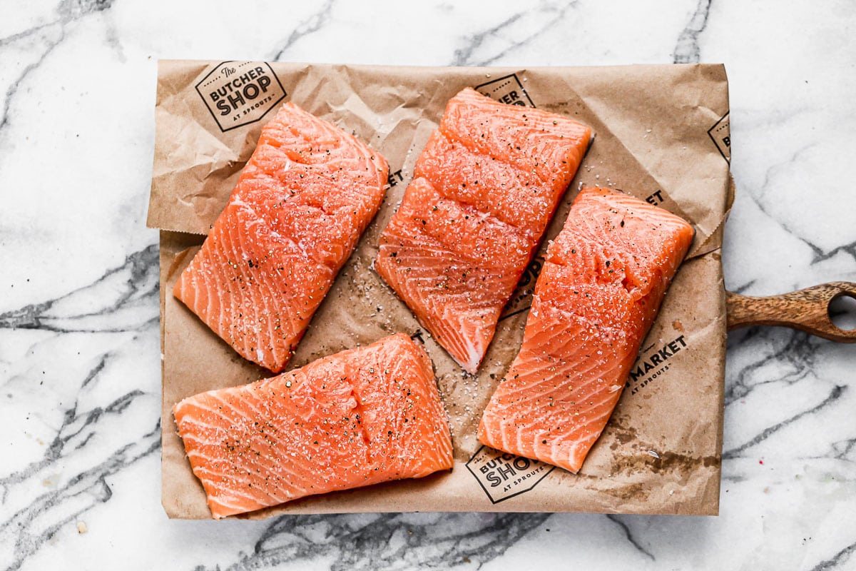 Four raw fish fillets