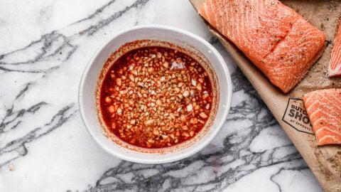 Honey garlic sauce in a bowl