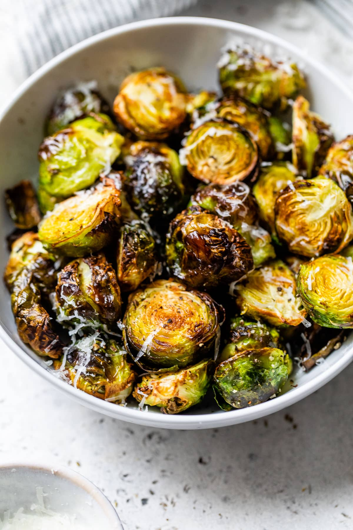 Brussels sprouts in a bowl with cheese