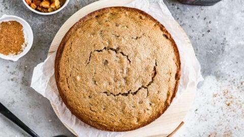 A freshly baked applesauce cake