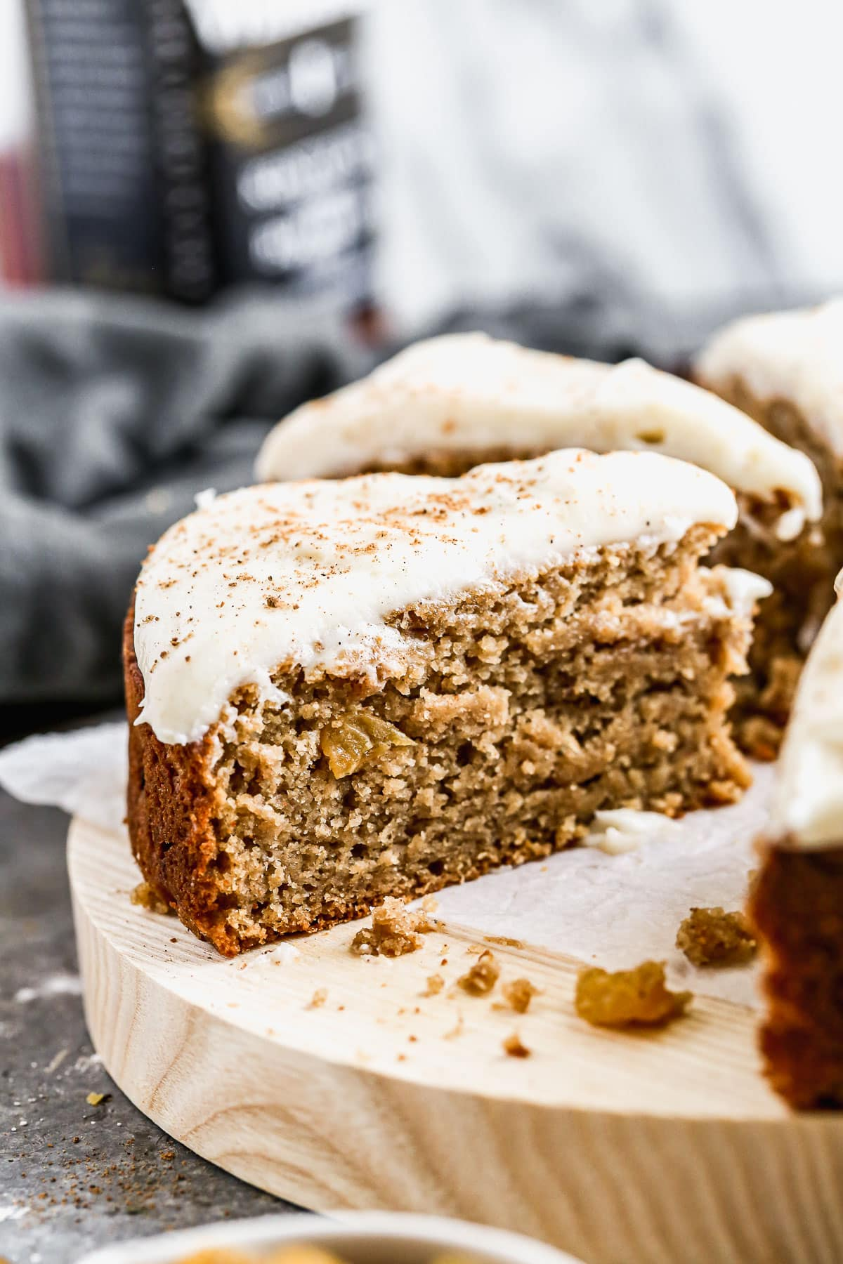 A slice of healthy applesauce cake