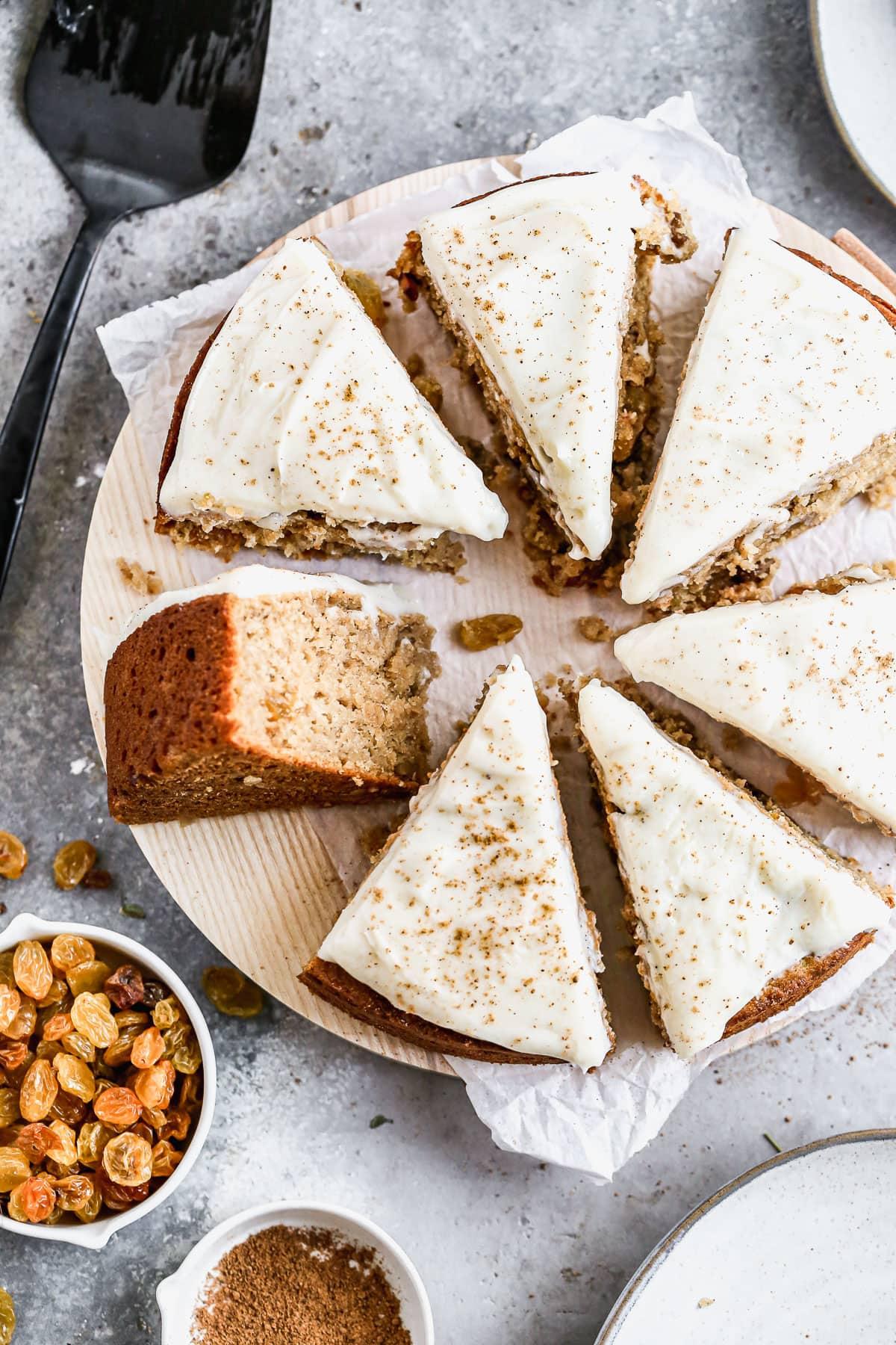Cut slices of applesauce cake