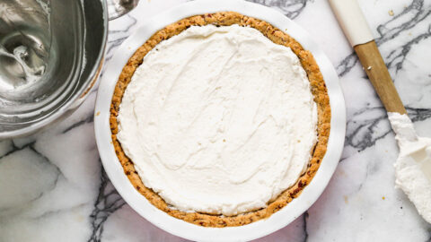 A pie with cream cheese filling
