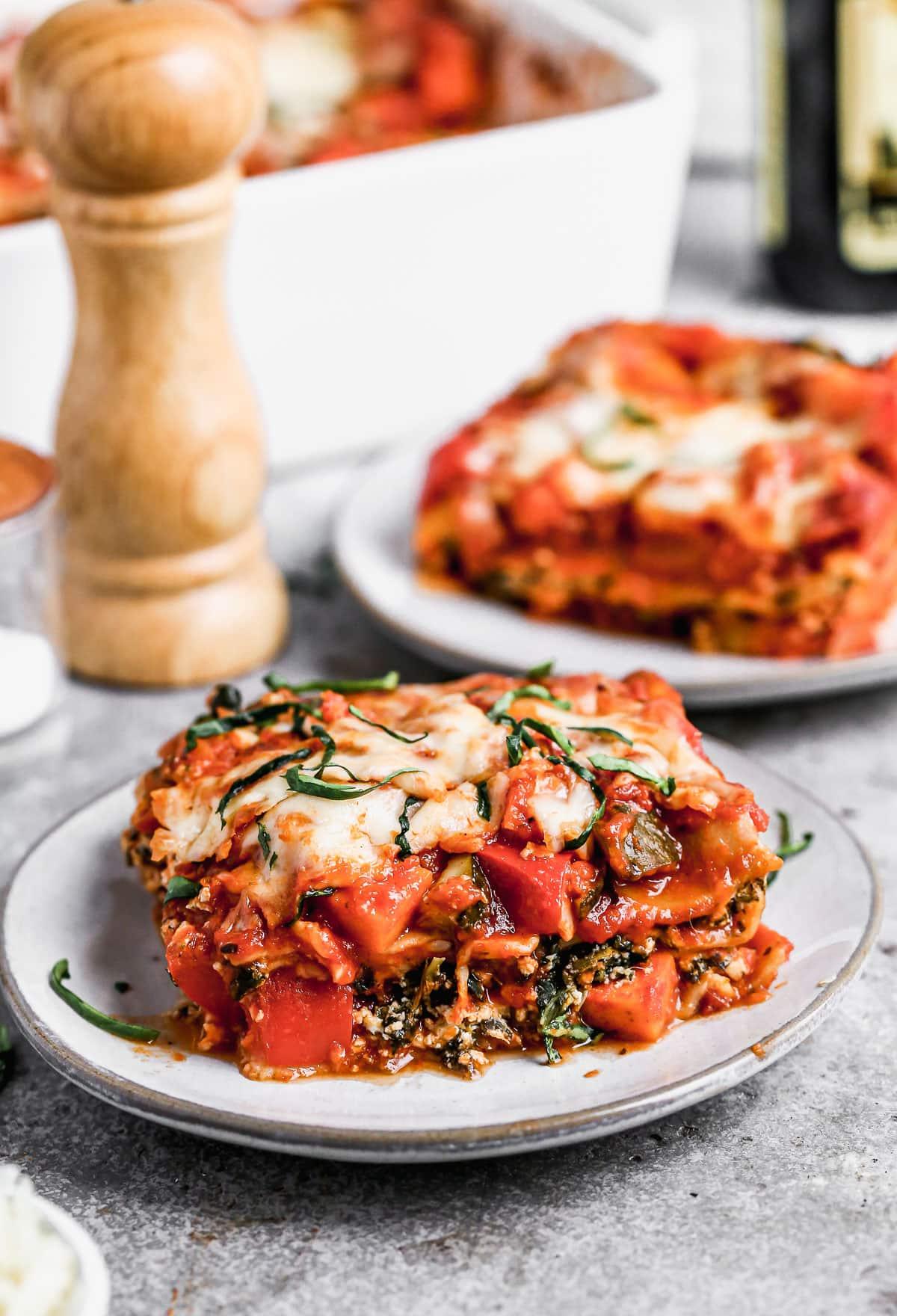 Vegetable lasagna on a plate