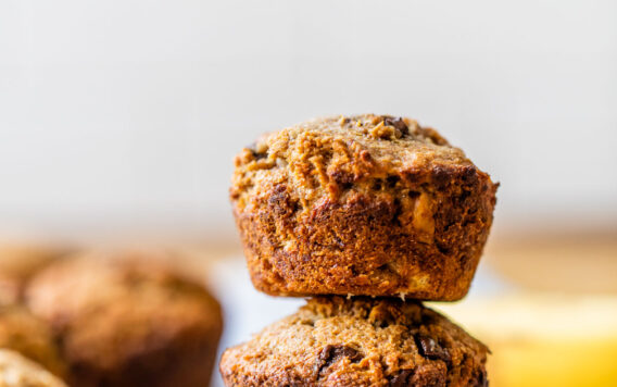 A stack of banana bran muffins