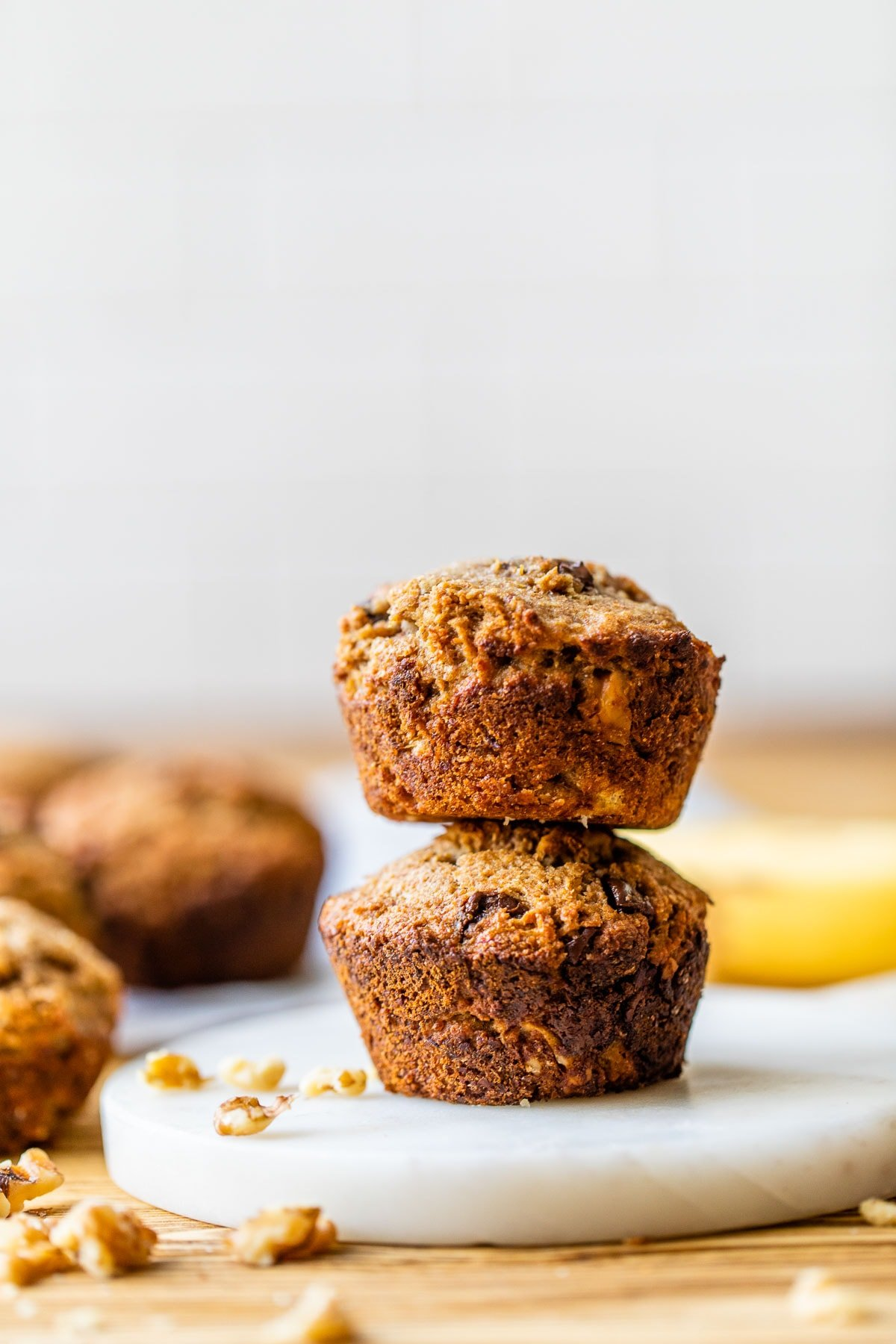 A stack of banana bran muffins