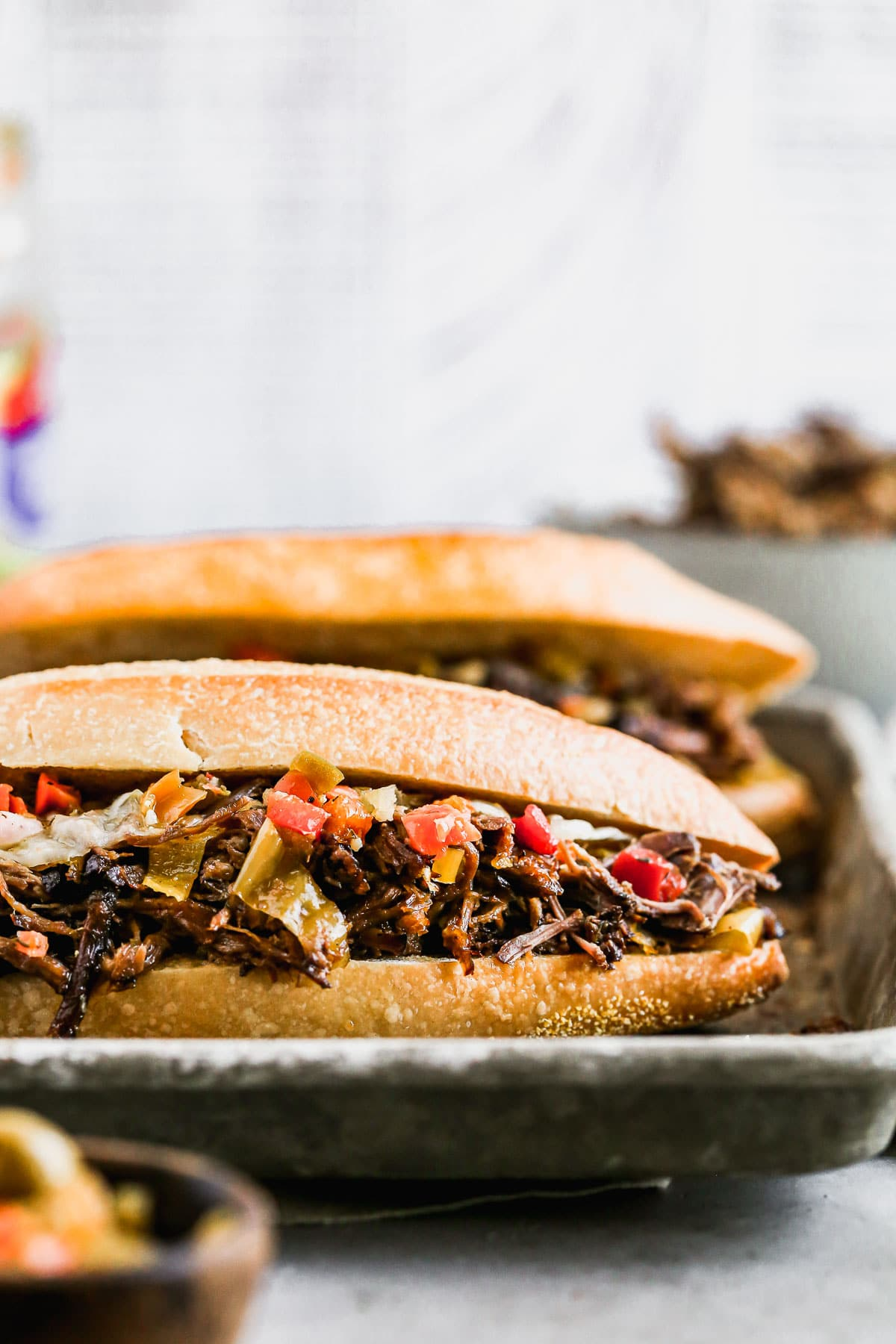 A sandwich of Italian beef with cheese