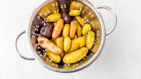 Washed vegetables in a colander