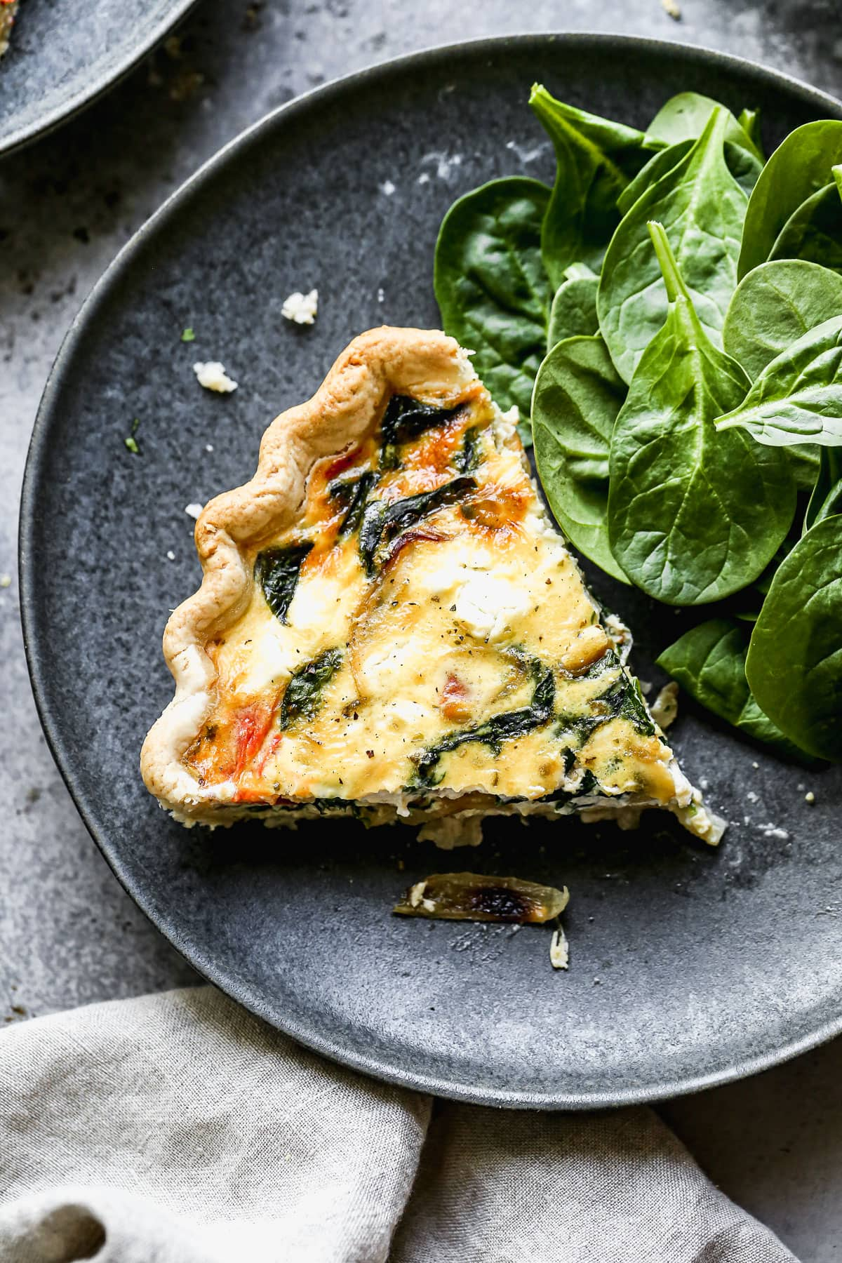 Easy goat cheese quiche on a plate