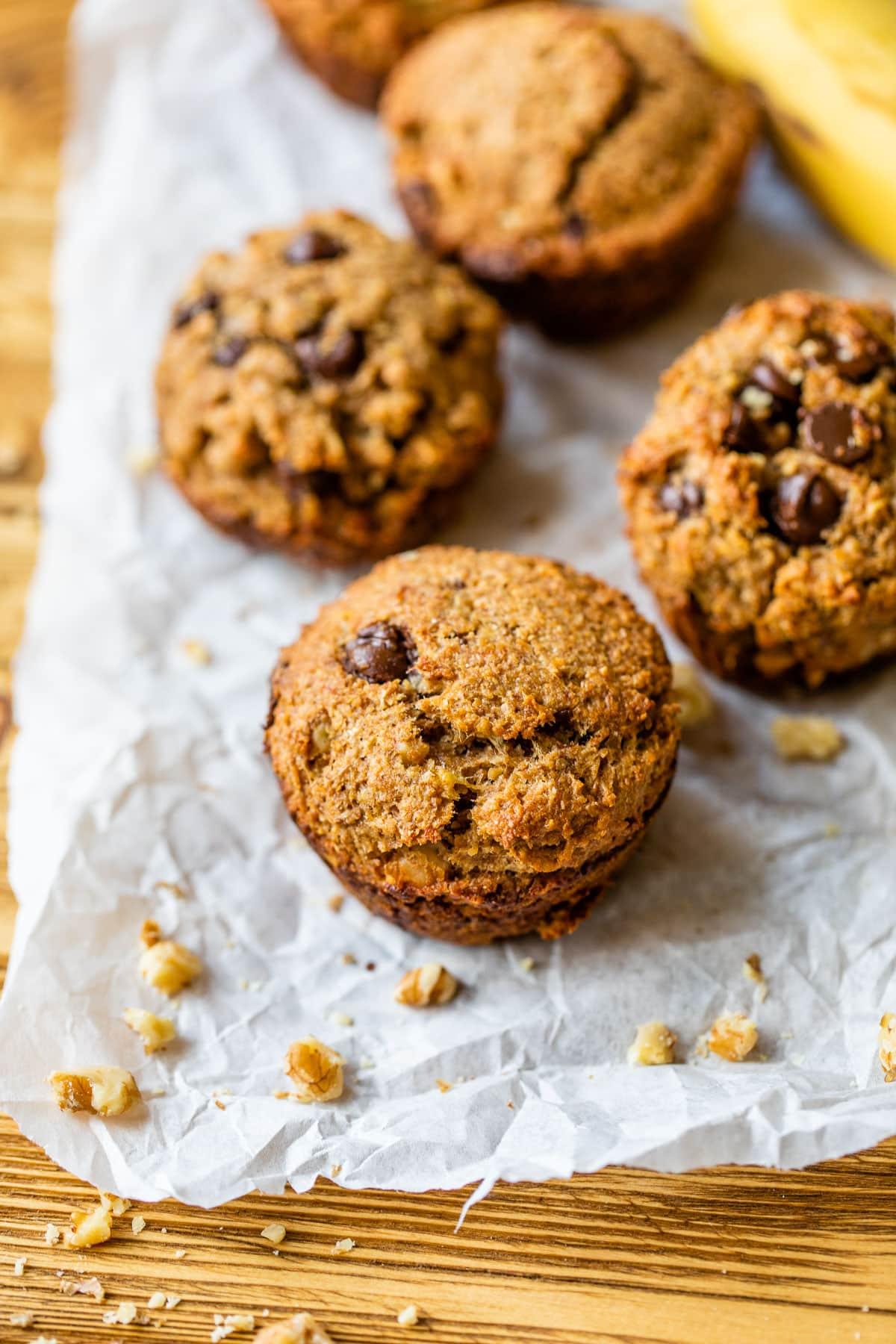 Banana bran muffins with chocolate chips