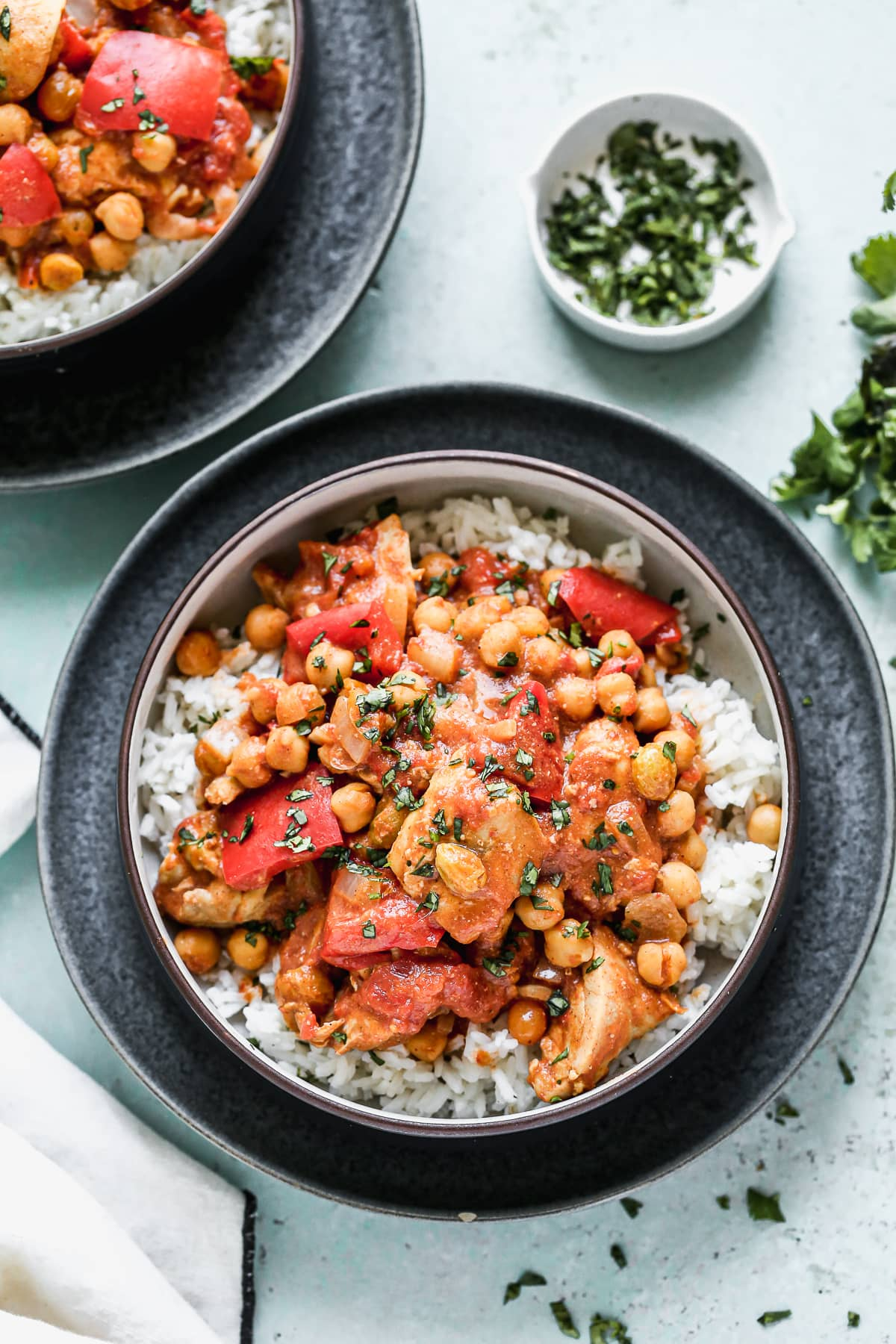 A bowl of Moroccan chicken and chickpeas