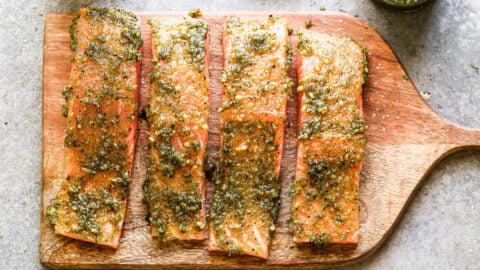 Basil spread on fish filets