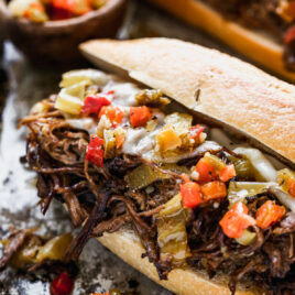 Italian beef sandwich with cheese