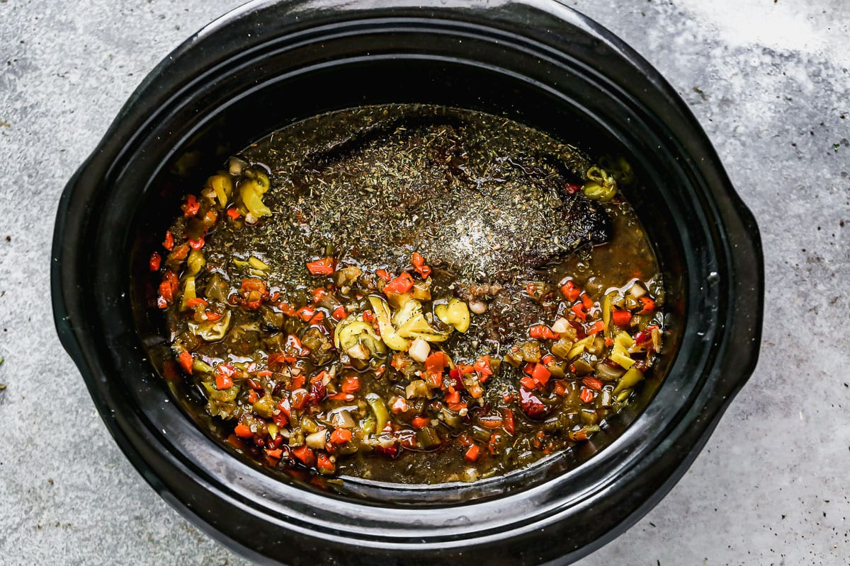 Vegetables and sauce in a crock pot