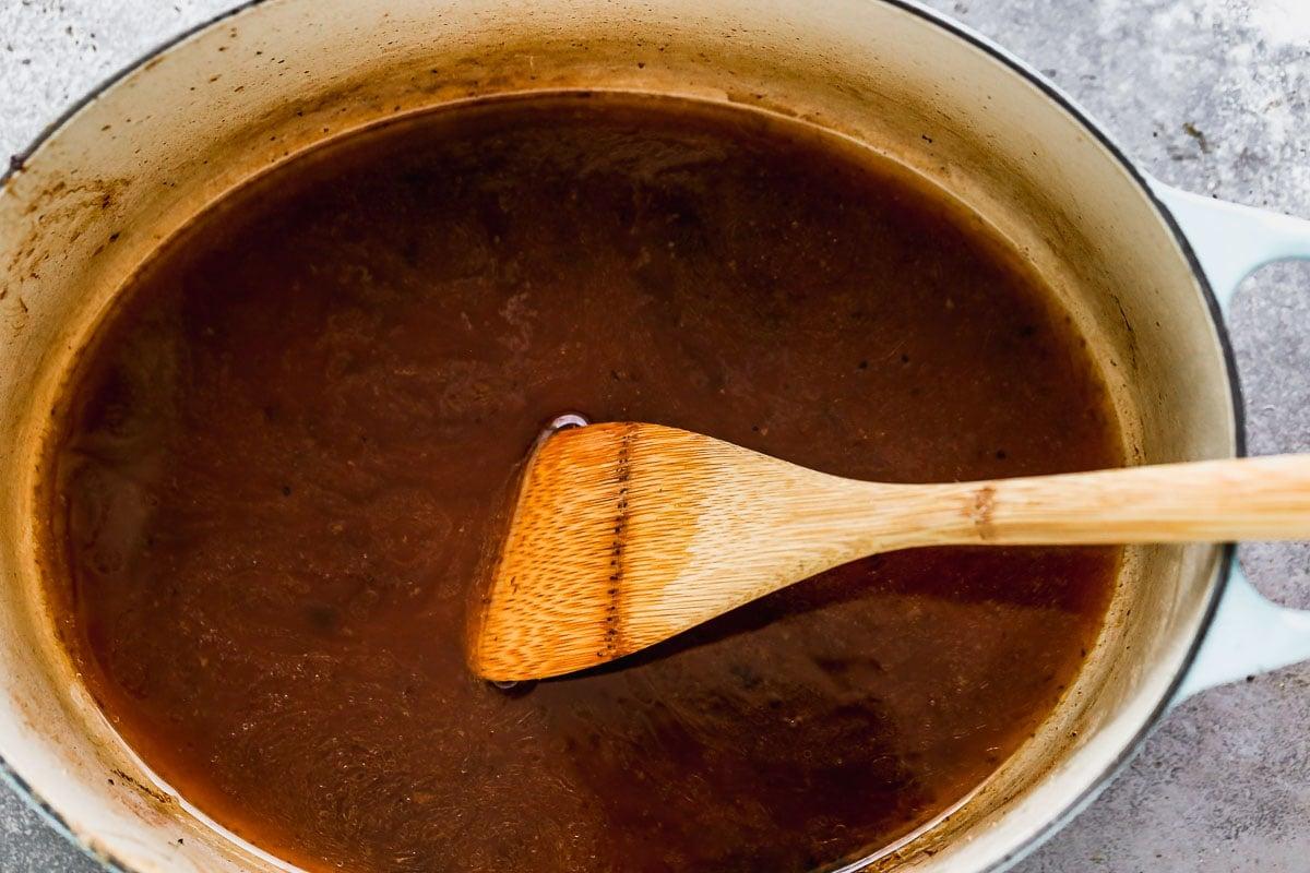Sauce in a Dutch oven