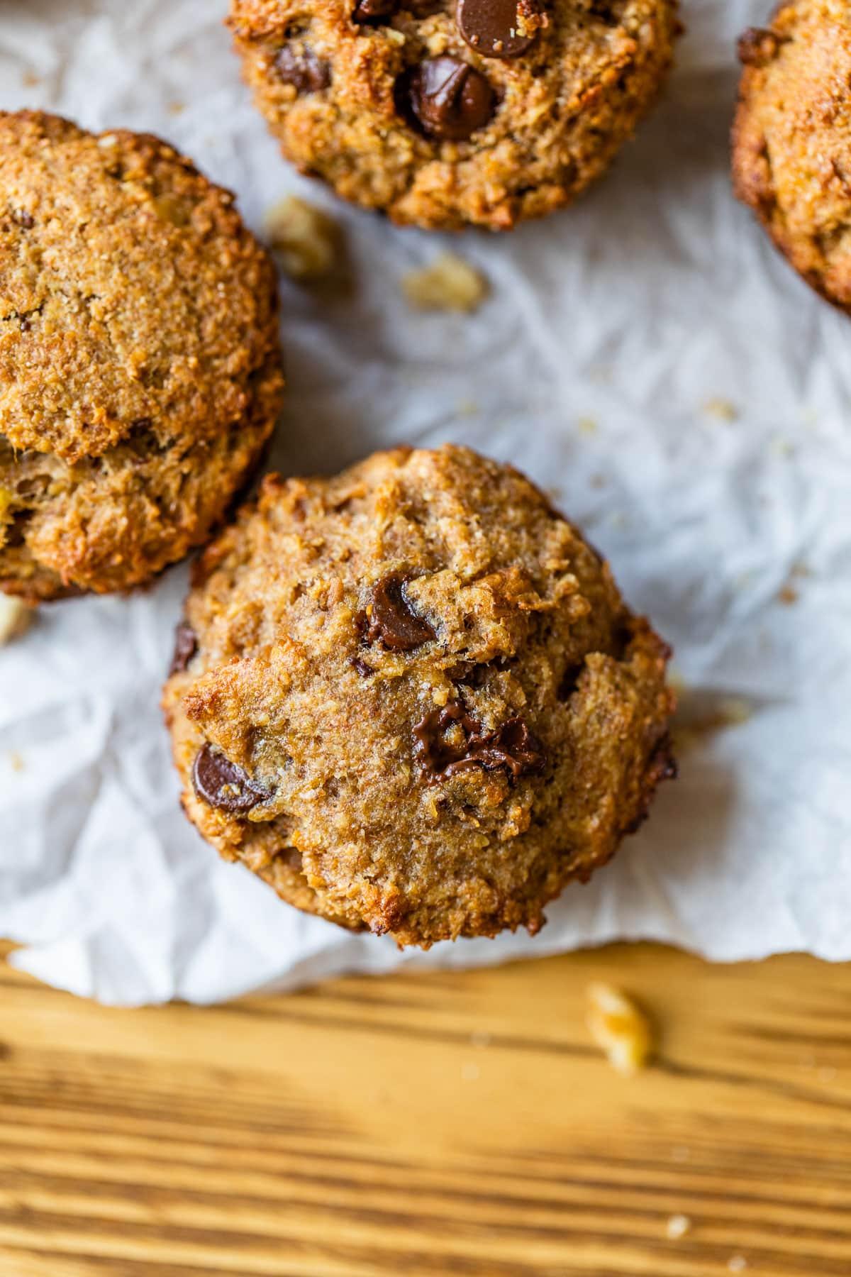 Chocolate chip banana bran muffins